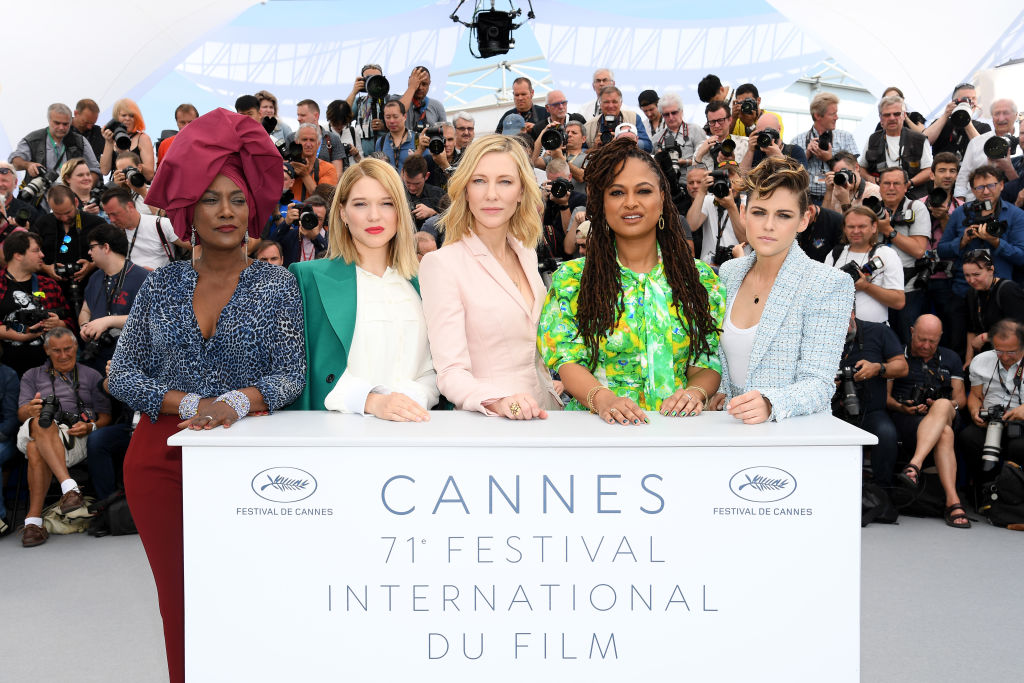 Jury members Khadja Nin, Lea Seydoux, Jury head Cate Blanchett, Ava DuVernay and Kirsten Stewart at the 71st Cannes Film Festival