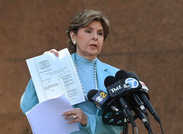Attorney Gloria Allred reading her statement