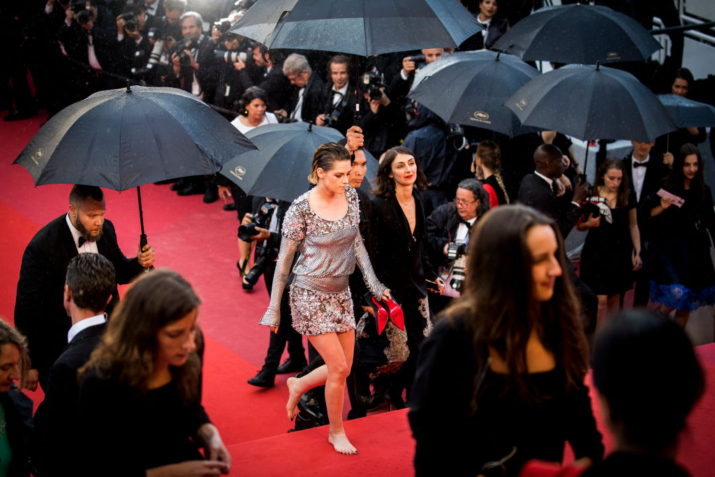 Another angle of Kirsten Stewart without her shoes on at the Cannes Film Festival