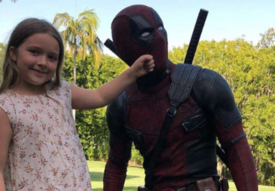 Harper Beckham with Deadpool actor Ryan Reynolds