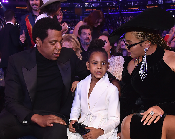 Jay-Z, Blu Ivy and Beyonce at Grammy's