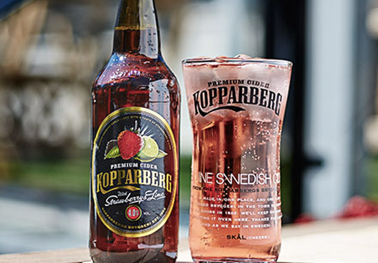 Bottle and glass of Strawberry and Lime Kopparberg cider