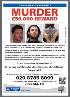 Shane O'Brien on Most Wanted List poster