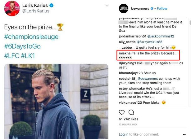 Mia Khalifa comments on post about Liverpool GK Karius