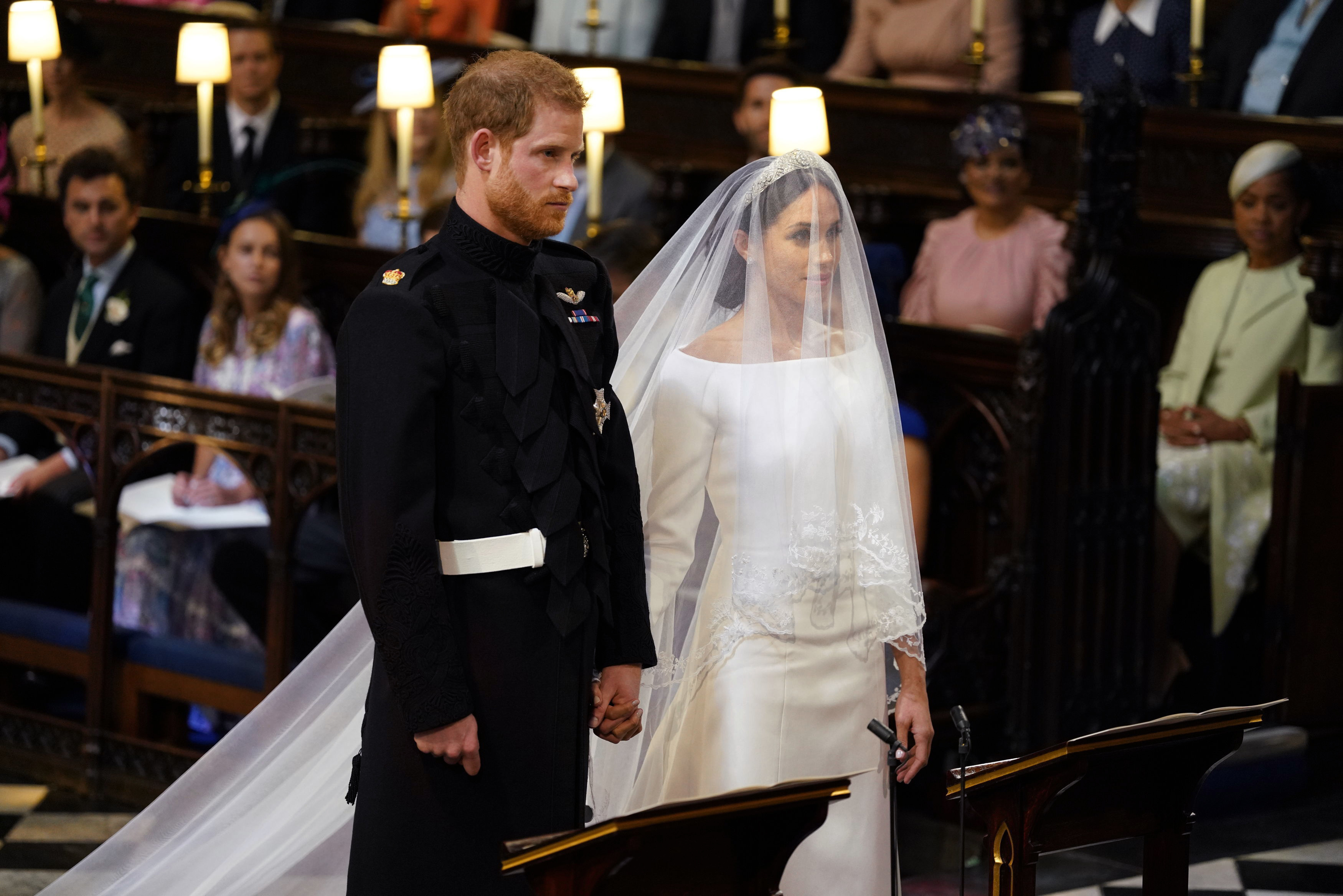 Royal Wedding Harry and Meghan standing at the alter in St George's Chapel, Windsor Castle