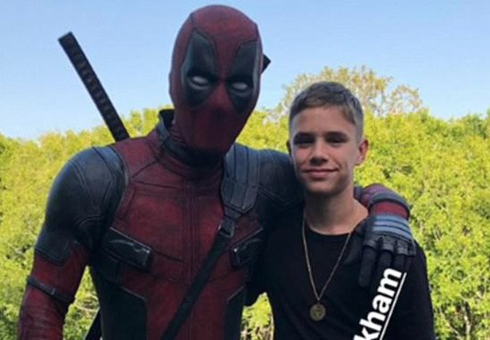 Romeo Beckham with Deadpool actor Ryan Reynolds