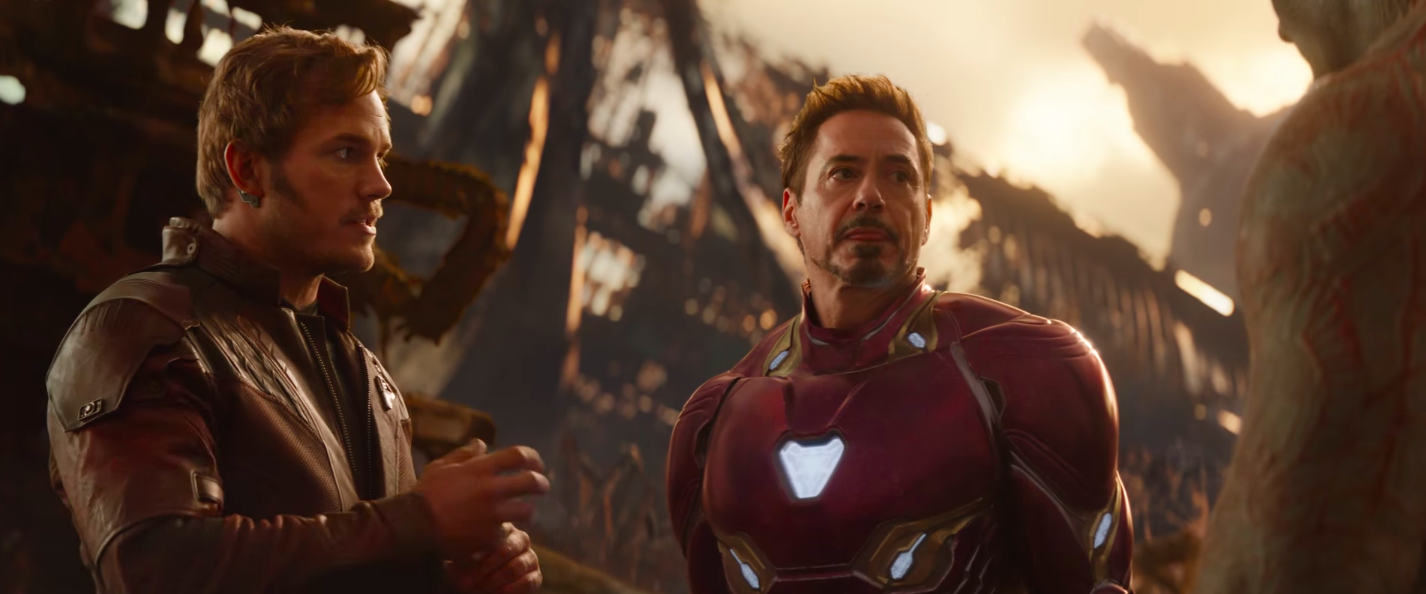 Chris Pratt As Star Lord and Robert Downey Jnr as Iron Man in Avengers: Infinity War