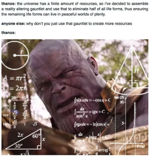 Thanos perplexed because he knows nothing about Malthus