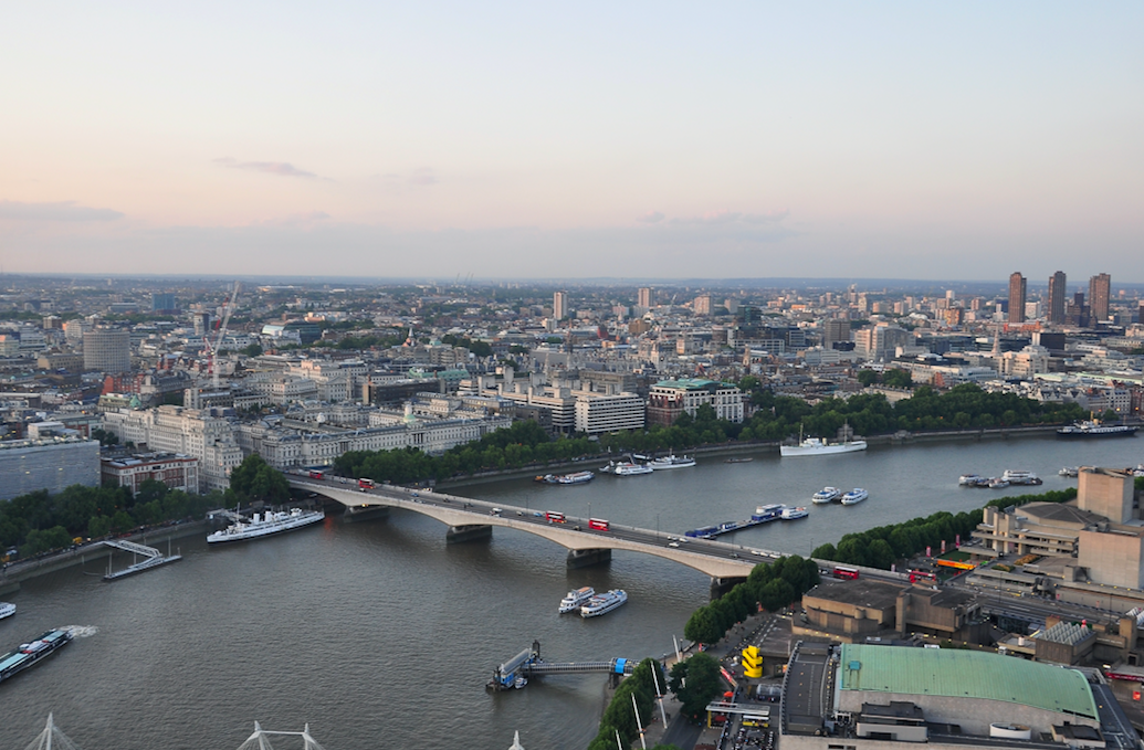 an aerial photo of Waterloo Bridge in London