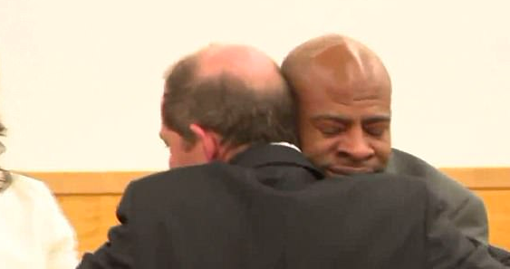 Man Weeps And Holds Hand Of Judge Who Exonerated Him Of Crime He Didnt Commit Screen Shot 2018 05 17 at 08.08.31