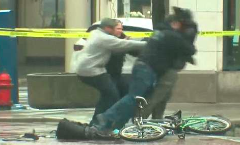 cyclist tackled by officers over suspicious package