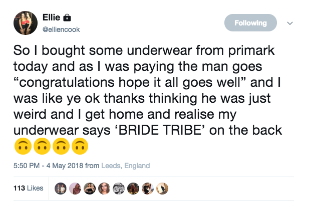 primark underwear surprise bride tribe ellie cook unilad