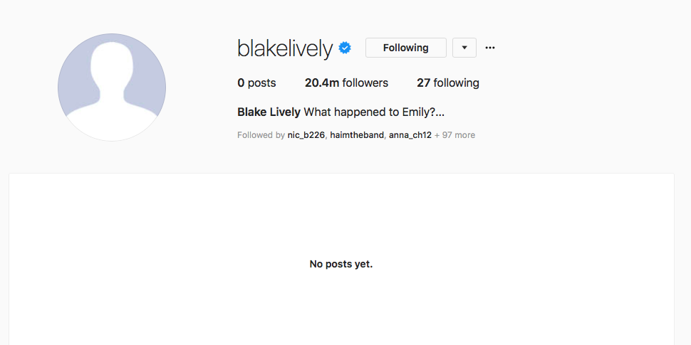 Blake Lively's Only Following People Called Emily Nelson On Instagram and Everyone's Confused