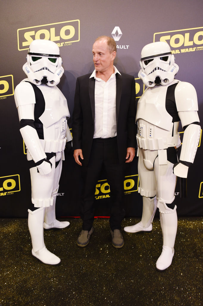 Woody Harrelson at Solo: A Star Wars Story Premiere with two storm troopers