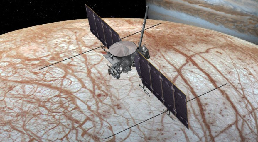 An image of a craft over Jupiter's moon Europa