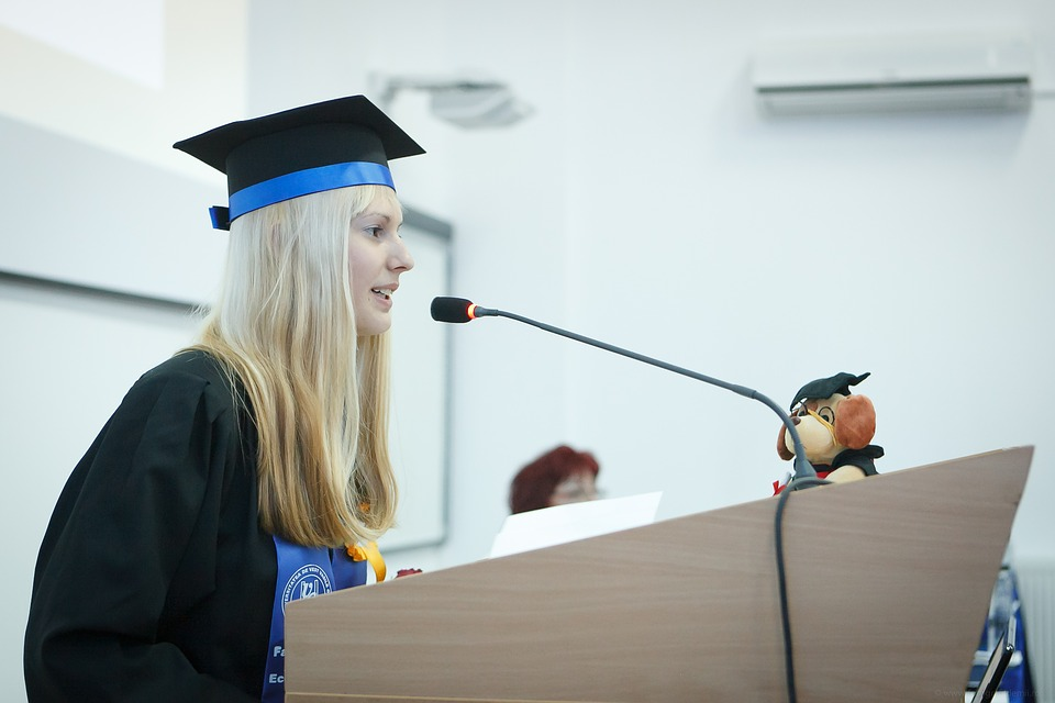 Student giving graduation speech