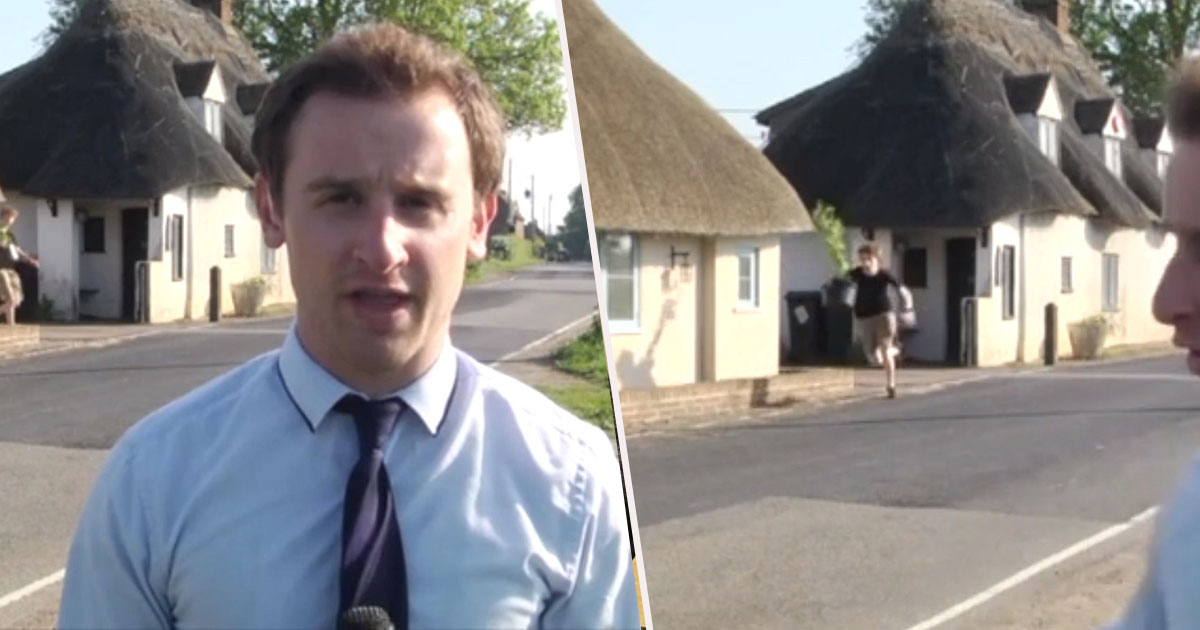 Guy Sprints Out Of Cannabis Factory Holding Plant During Live News Report