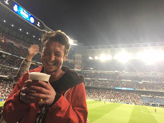 Beers at the Bernabeu watching Real Madrid