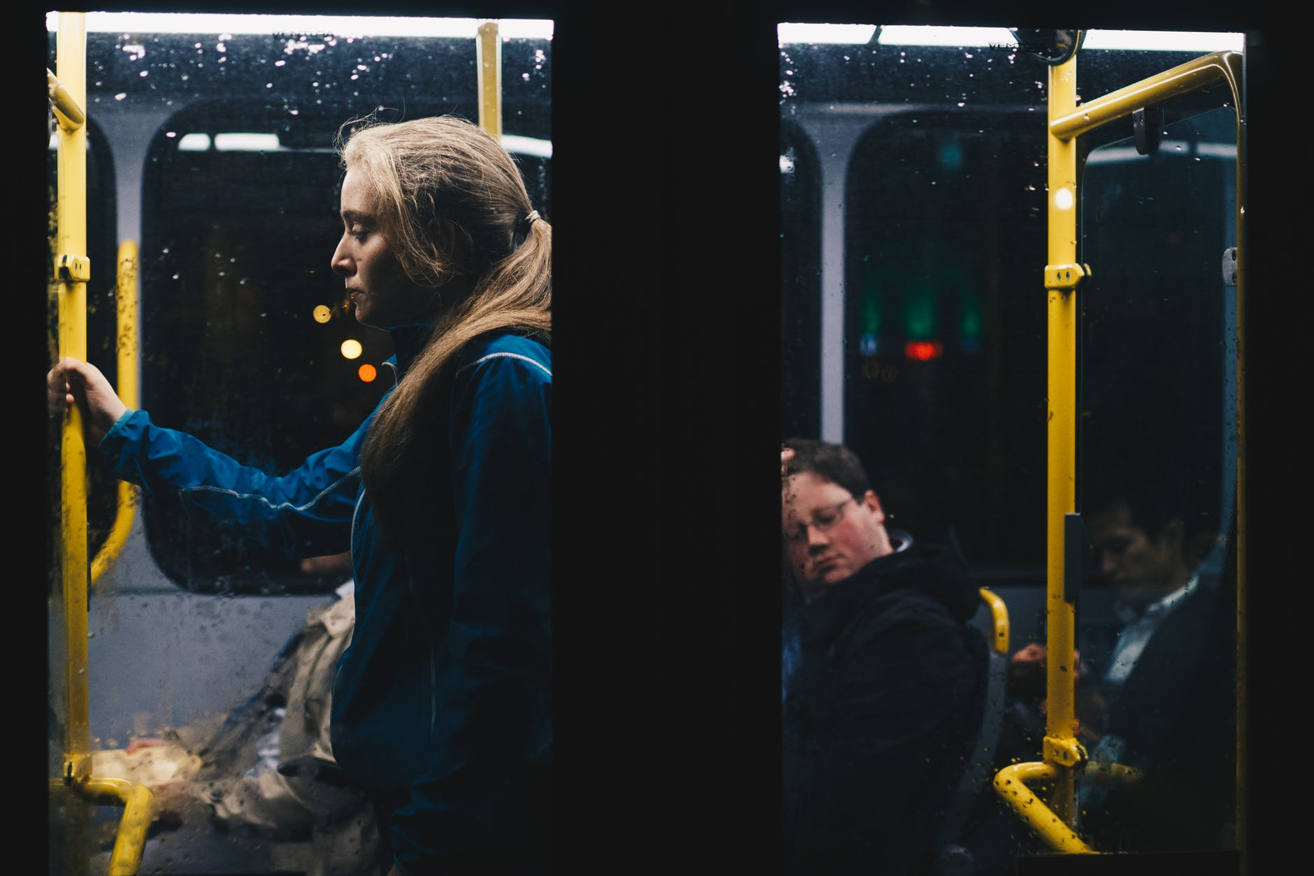image of someone looking lonely on a bus