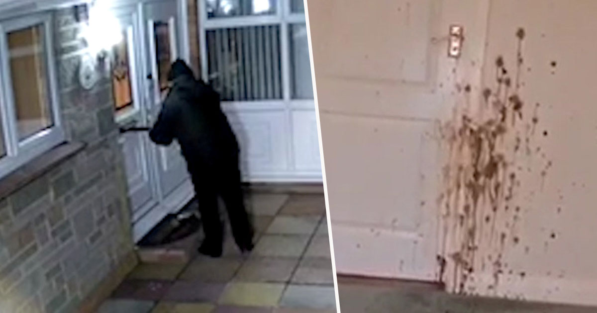 man sprays poo through letterbox