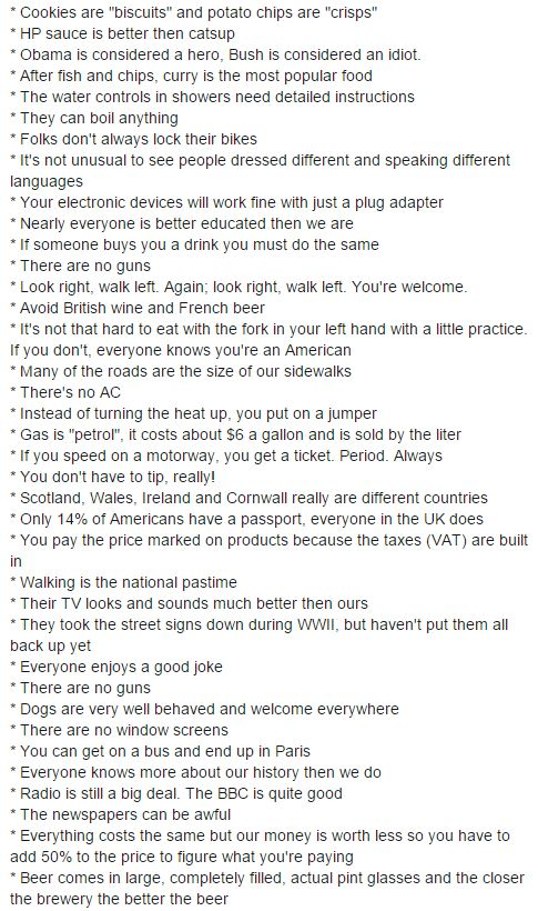 american lists english things