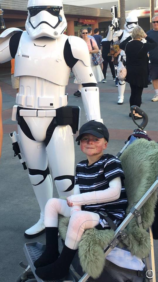Mason White, the Butterfly Boy, with a Stormtrooper