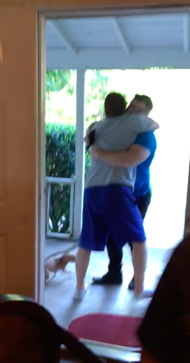 Dad flips table when son returns from military