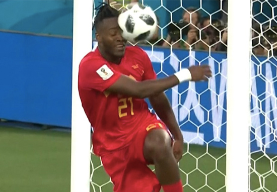 Batshuayi kicks the ball into his own face via the post vs England