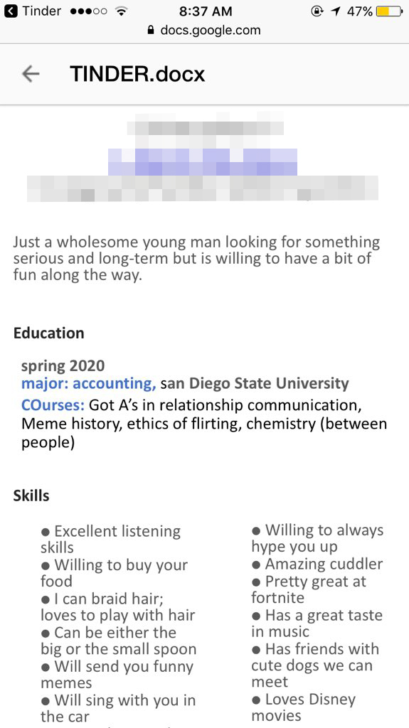 Resume sent over Tinder
