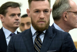 Conor McGregor speaks outside court