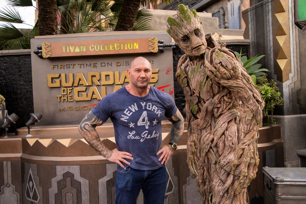 Dave Bautista with Groot