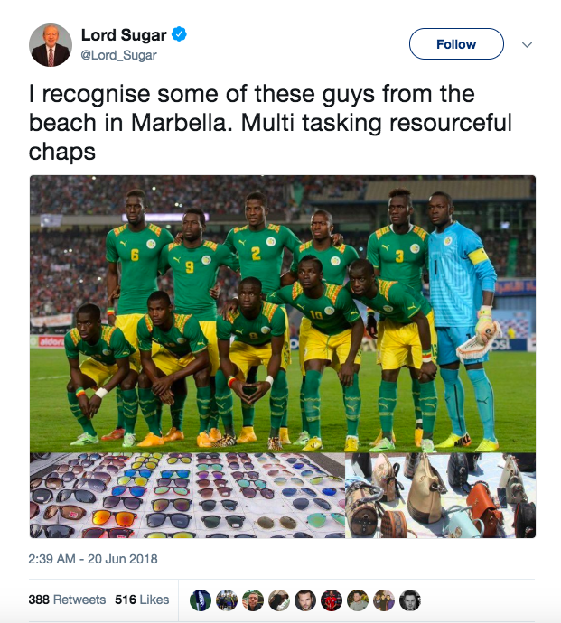 Lord Sugar tweets about Senegal football team