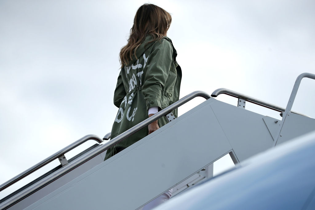 Did The Queen Send Coded Messages To Trump With Her Jewellery? Melania Trump jacket