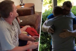 Dad's reaction to son coming home from military