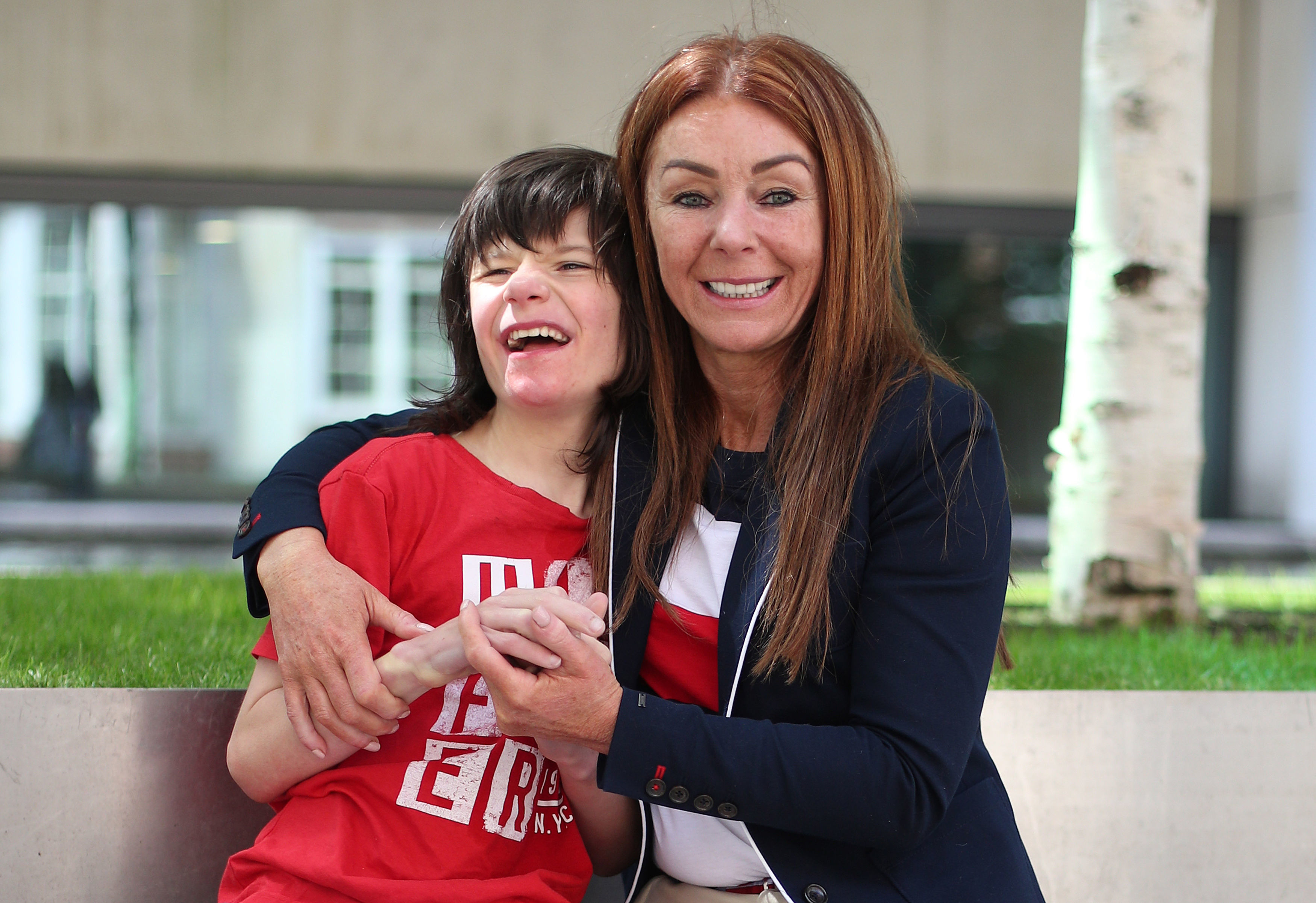 Charlotte Caldwell and her son Billy outside the Home Office in London ahead of a meeting with Minister of State Nick Hurd, about cannabis oil