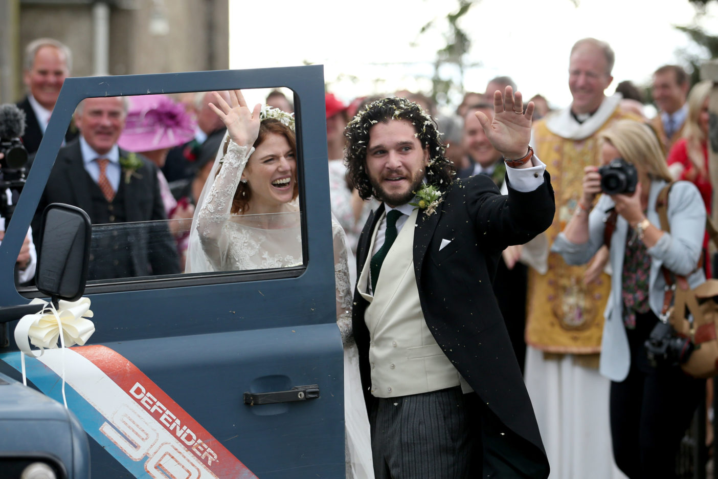 Kit Harington and Rose Leslie coming out of church