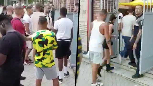 Barcelona club bouncers stopping black people and allowing white people to enter