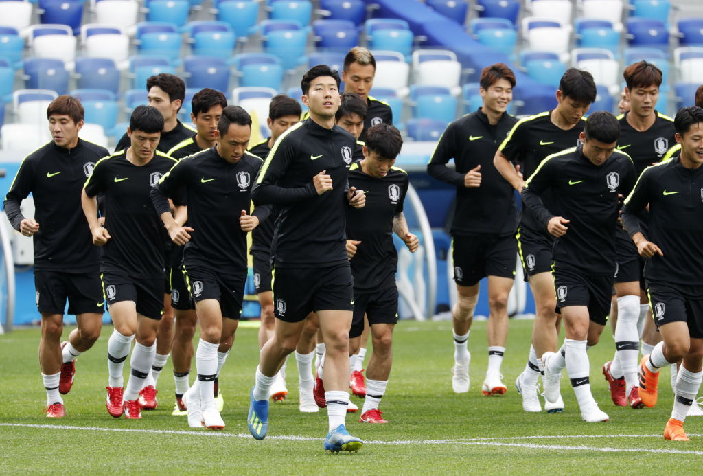 South Korea football training