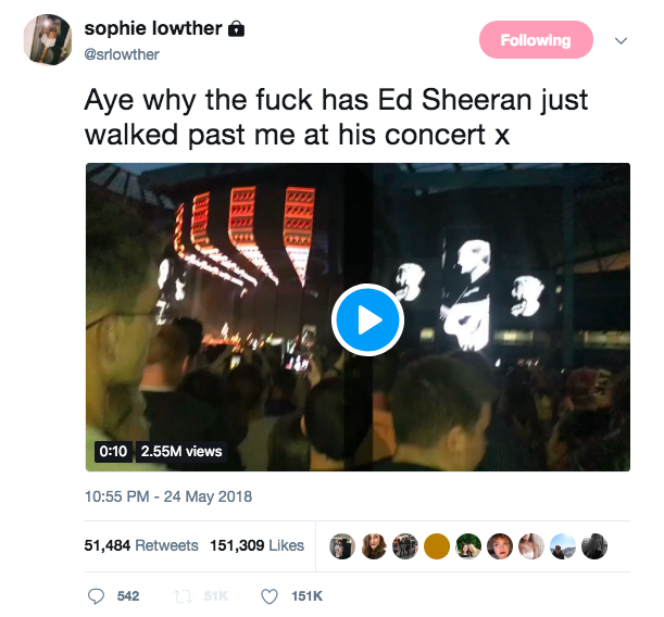 ed sheeran concert video viral unilad