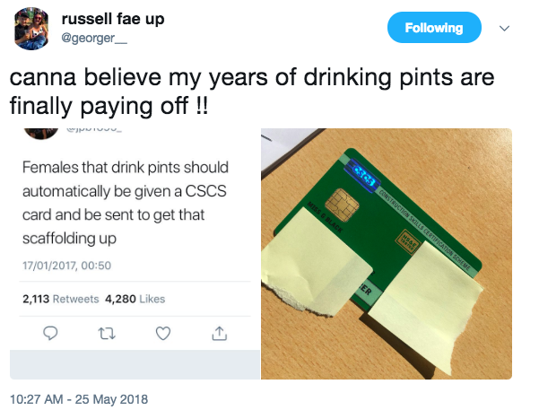 woman response drink pints construction unilad