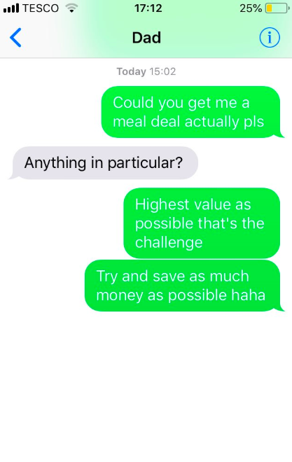 Middle Class Guy Asks Dad For A Meal Deal, Gets 3 Course Meal Instead Screen Shot 2018 06 07 at 16.22.11
