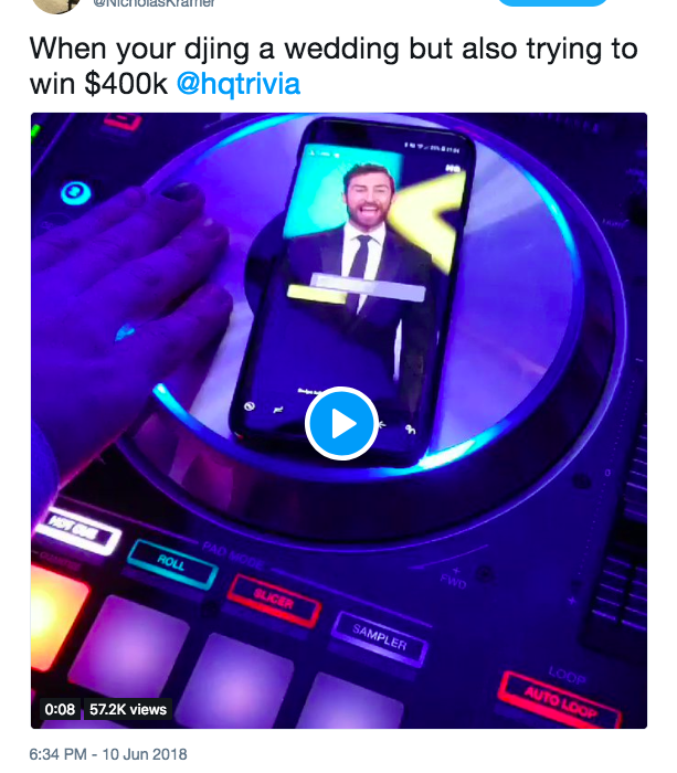 guy nicholas kramer hq trivia djing wedding unilad