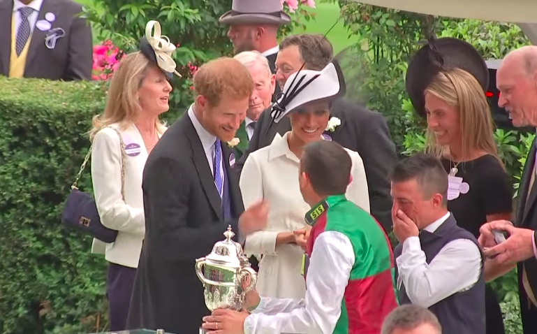 Prince Harry, Frankie Dettori and Meghan Markle