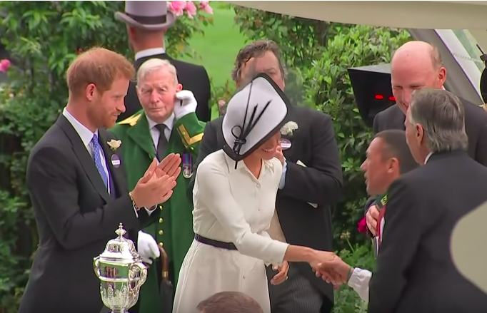 Prince Harry and Meghan Markle meet Frankie Dettori