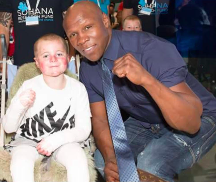 Mason White, the Butterfly Boy, with Chris Eubank