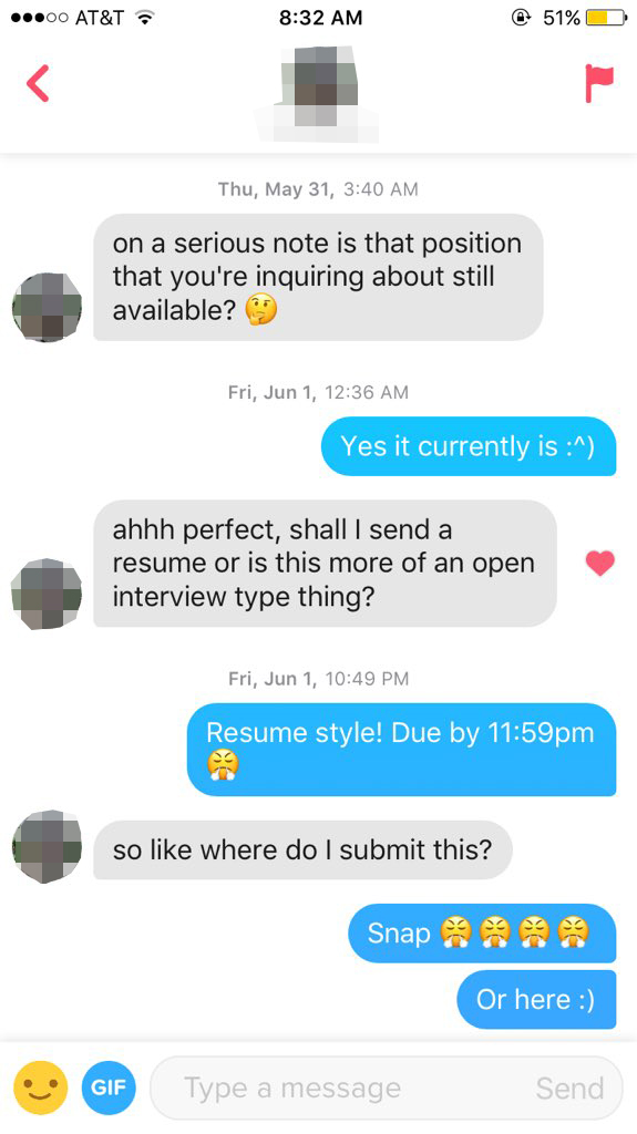Tinder messages about resume