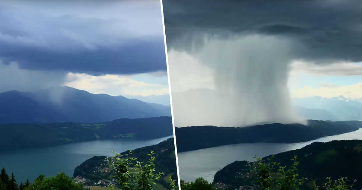 Incredible Timelapse Shows Storm Dumping Tonnes Of Water In Alpine Lake