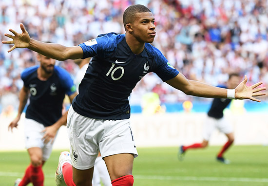 Kylian Mbappe scores for France