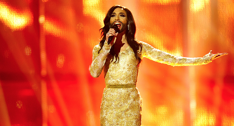 Conchita Wurst performs at eurovision
