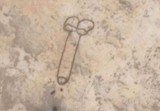 Penis drawing in lake bed